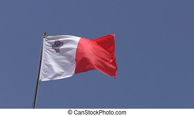 National white red flag of Malta - White red with St George...