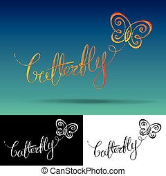 Logo Butterfly - Vector Logo with custom single line...