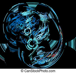 fractal background illustration with technical lines and...
