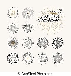 Vintage style elements and icons - Hand drawn light rays and...