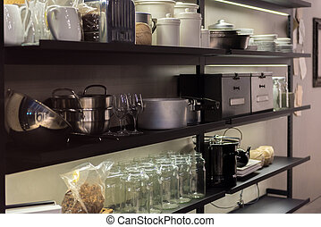 Commercial Kitchen Shelf - Shelves in Professional Kitchen...