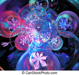 illustration Abstract fractal background with a floral...