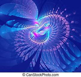 Fractal illustration of abstract tech background with spiral