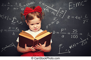 wunderkind little girl schoolgirl with a book from the...