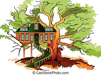 tree house and oak isolated on white
