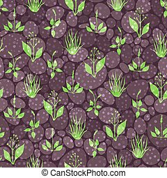 Seamless pattern with grass and sto - Seamless pattern with...