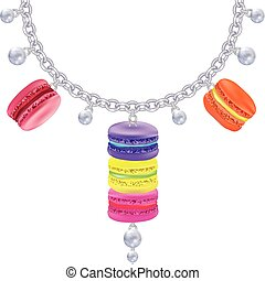 Necklace with macaroon pearls on a silver chain.