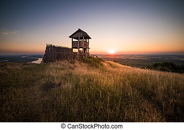 Wooden Tourist Observation Tower over a Landscape at...