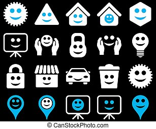 Tools, options, smiles, objects icons
