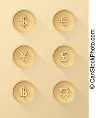 Currency symbol icons dollar, euro, yen, pound, baht