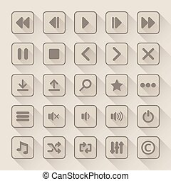 Media player button icons set with long shadow