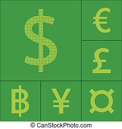 Currency symbol dollar, euro, yen, pound, baht