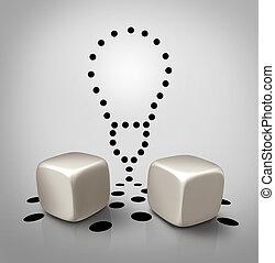Venture Idea - Venture idea and invention icon dice concept...