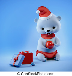 Christmas bear sitting with ball on hands, clipping path
