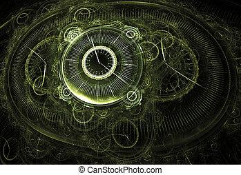 Ilustración, Fractal, Plano de fondo, clocks, y,...