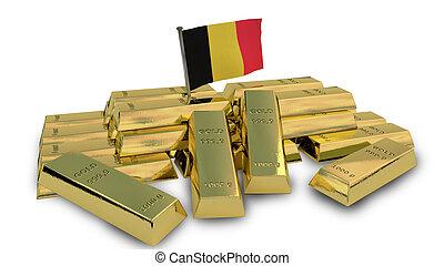Belgian economy concept with gold bullion