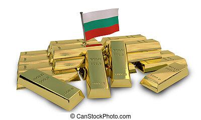Bulgarian economy concept with gold bullion
