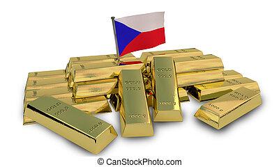 Czech economy concept with gold bullion