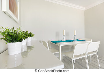 White wooden cabinet and table - Image of white wooden...
