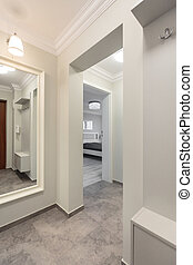 White corridor in modern flat - Photo of white spacious...