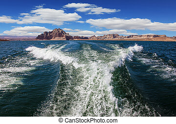 Foamy trace of a motor boat - Lake Powell on the Colorado...