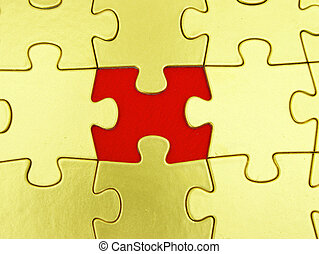 puzzle - gold puzzle for background business concept