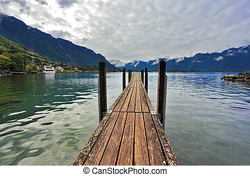 Boat pier on Lake Leman - Boat wooden pier on Lake Leman....