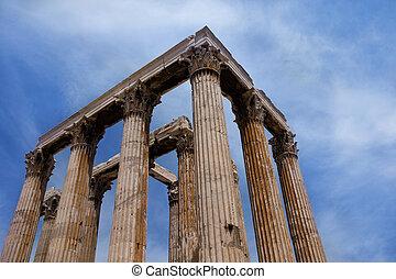 Templo, de, a, olympian, zeus, e, a, Acrópole, em,...