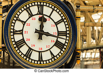 Clock at Waterloo train station, London England UK - Closeup...