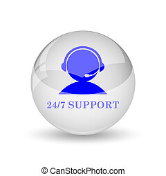 24-7 Support icon. Internet button on white background.