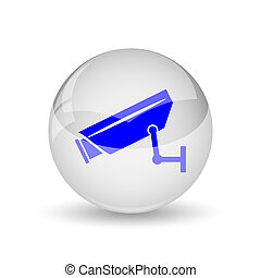 Surveillance camera icon. Internet button on white...