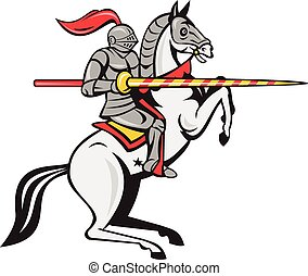Knight Lance Steed Prancing Isolated Cartoon - Cartoon style...