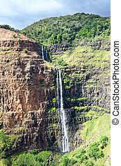 Cañón, cascada, Hawai,  Waimea