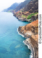 Na Pali Coast Hawaii - An aerial view of the Na Pali coast...