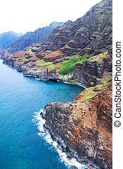 Na Pali Coast Kauai Hawaii - An aerial view of the Na Pali...