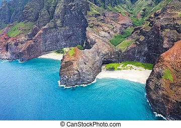 Hawaii Napoli Coast - An aerial view of the Na Pali coasts...
