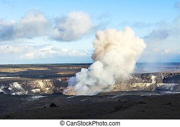 Kilauea volcano at night - Kilauea volcano exploding after...