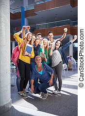 students group study - happy students group study in...