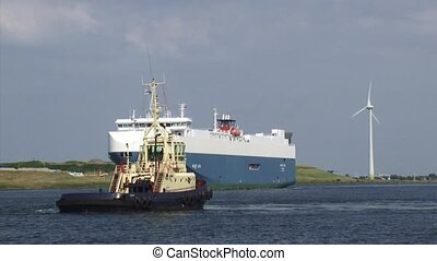 NORTH SEA CANAL Baltic Ace westbound behind pilot boat -...
