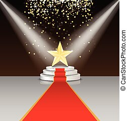 Stage podium with red carpet and star on brown background