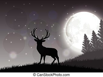 A deer standing - Silhouette of a deer standing on a hill at...