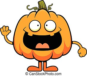 Cartoon Pumpkin Cheerful - Cartoon illustration of a pumpkin...