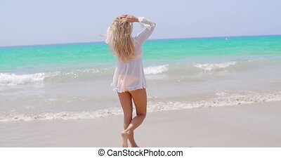 Rear View of Adorable Girl on the Beach - Full Length Body...