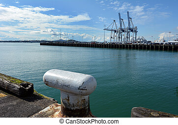 Captain Cook Wharf in Ports of Auckland, New Zealand -...