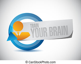 train your brain cycle sign concept illustration design