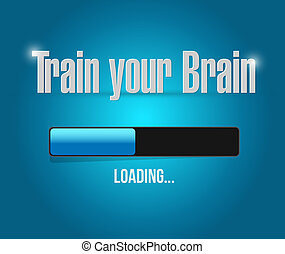 train your brain loading bar sign concept illustration...