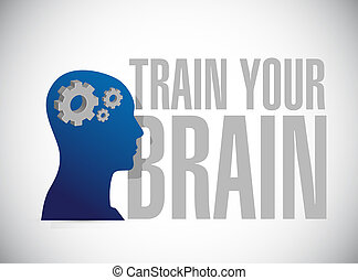 train your brain sign concept illustration design