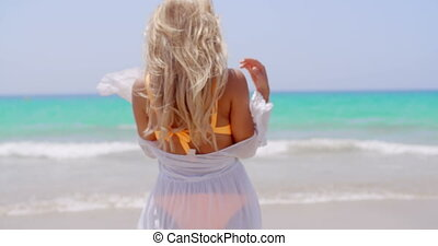 Rear View of a Pensive Blond Woman at the Beach - Rear View...