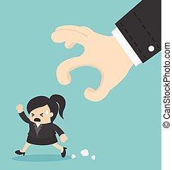 business Woman run away hand eps 10