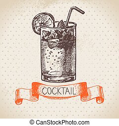Hand drawn sketch cocktail vintage background Vector...